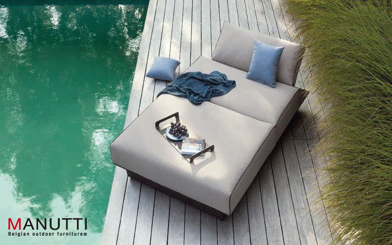 MANUTTI Bain de soleil double Chaises longues Jardin Mobilier Jardin-Piscine | Design Contemporain