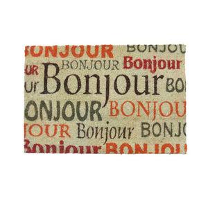 WHITE LABEL - paillasson en coco motifs texte : bonjour; 4573;pa - Paillasson