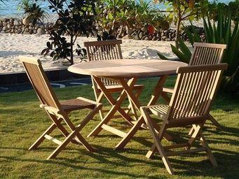 COMPTOIR D'OUTREMER - table de jardin pliante ronde - Table De Jardin Ronde
