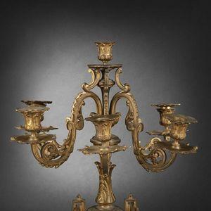 Expertissim - paire de candélabres en bronze doré - Chandelier