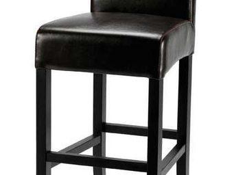 ZAGO - chaise de bar lea marron fonc� en bycast et boulot - Chaise Haute De Bar