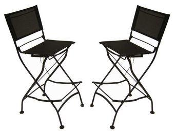 Medicis - chaises hautes en fer forgé et textilène (par 2) - Chaise De Jardin