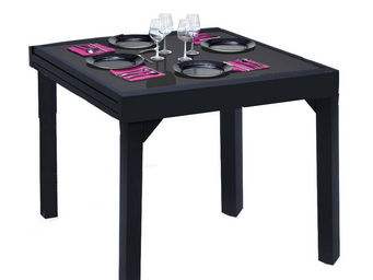 WILSA GARDEN - table de jardin modulo noir 4 à 8 personnes en alu - Table De Repas Carrée