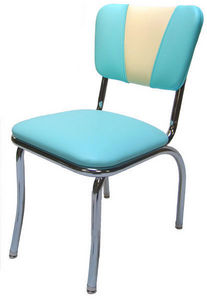 US Connection - chaise de diner vintage aqua/blanc - Chaise