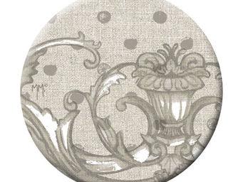 Mathilde M - badge grand modèle pois gris - Badge