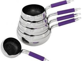 SCHUMANN PROFESSIONNEL - 5 casseroles pomme manche violet 12, 14, 16, 18 & - Casserole
