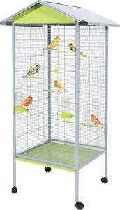 ZOLUX - volière rouliette verte en métal 78x74x175cm - Cage À Oiseaux