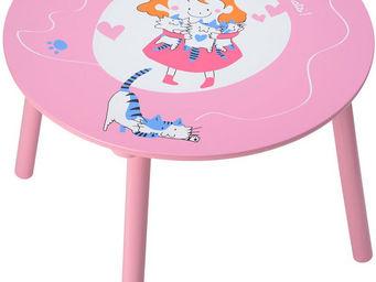 La Chaise Longue - table enfant petits chats en bois rose 60x45cm - Table Enfant