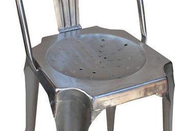 Antic Line Creations - chaise vintage en métal argent - Chaise