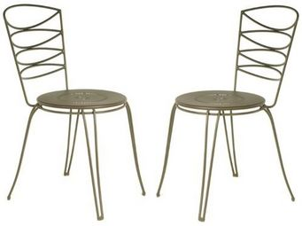 PROLOISIRS - chaise amande en acier cataphorèse rouille (lot de - Chaise De Jardin