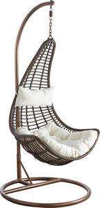 Aubry-Gaspard - balancelle sur pied en polyr�sine et acier brun - Balancelle