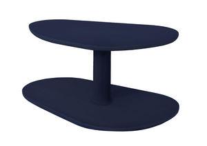 MARCEL BY - table basse rounde en chêne bleu noir 72x46x35cm - Table Basse Forme Originale