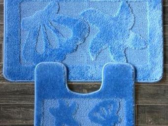 ILIAS - tapis salle de bain et toilette coquillage bleu - Tapis De Bain