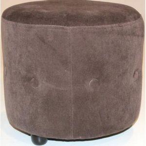 International Design - pouf velours rond chesterfield - couleur - marron - Pouf