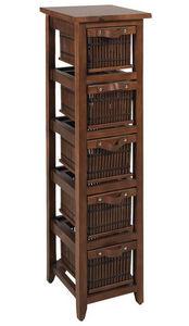 Aubry-Gaspard - commode 5 tiroirs en pin et en bambou teintés 30x3 - Colonne De Rangement Simple De Salle De Bains
