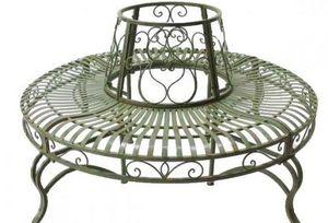 Demeure et Jardin - tour d'arbre rond vert de gris en fer forgé - Banc Circulaire