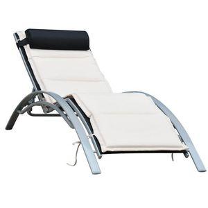 WHITE LABEL - transat chaise longue avec matelas - Bain De Soleil