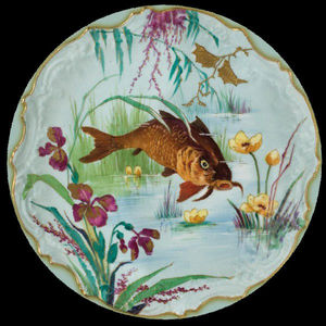 Au Bain Marie - assiette en tôle poisson chat - Assiette Décorative