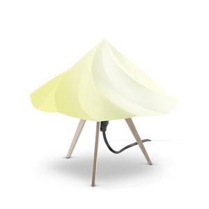 Moustache - chantilly - lampe à poser bois & jaune h28cm | lam - Lampe À Poser