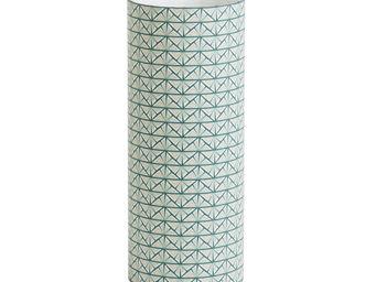 FABULEUSE FACTORY - gatsby - lampe à poser tube tissu motifs bleu/vert - Lampe À Poser