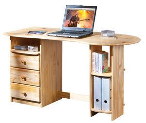 WHITE LABEL - bureau avec rangements en pin massif - Bureau