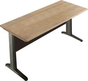 WHITE LABEL - bureau 120 cm en bois et métal coloris chêne noyer - Bureau
