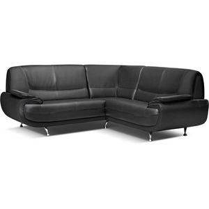 WHITE LABEL - canapé d?angle design en simili cuir noir - Canapé Modulable