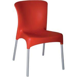 COMFORIUM - lot de 4 simples chaises empilables de coloris rou - Chaise