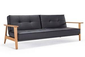 INNOVATION - canapé lit design splitback frej noir convertible - Canapé Lit