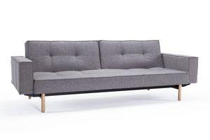 INNOVATION - canape design splitback gris avec accoudoirs conve - Canapé Lit
