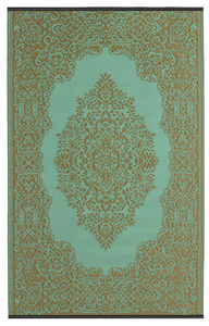 FABHABITAT - tapis intérieur extérieur istanbul aqua et bronze - Tapis Contemporain