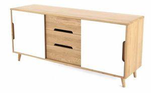 ZAGO - meuble bas 2 portes coulissantes et 3 tiroirs elfy - Buffet Bas
