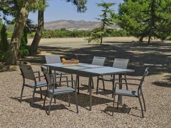 HEVEA - salon de jardin royan 1 table + 6 fauteuils - Salle À Manger De Jardin