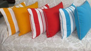 ITI  - Indian Textile Innovation - stripe & solids - Coussin Carr�