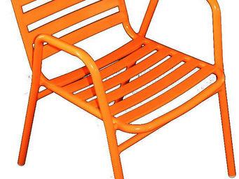 WILSA GARDEN - fauteuil de jardin à lattes retro orange - Fauteuil De Jardin
