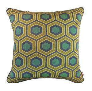 Art De Lys - hexagone fond vert - Coussin Carré