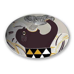 la Magie dans l'Image - assiette ogre pluie fond gris - Assiette De Présentation