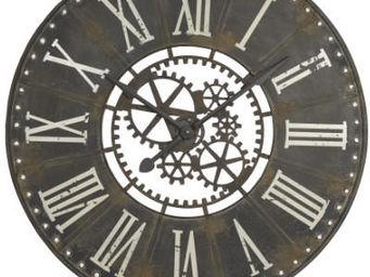 Antic Line Creations - pendule murale industrielle 91cm - Horloge Murale