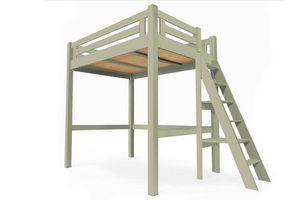 ABC MEUBLES - abc meubles - lit mezzanine alpage bois + échelle hauteur réglable moka 120x200 - Lit Mezzanine