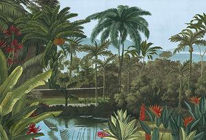 Ananbô - jardin balinais couleur - Papier Peint Panoramique