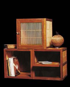 Matahati - cube simple en teck et bambou - Armoire À Portes Battantes