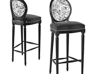 Etc Creations - chaise bar cocktail en noir et blanc - Chaise Haute De Bar