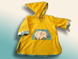 CréaFlo - poncho peignoir 2/5ans jungle jaune - Peignoir Enfant