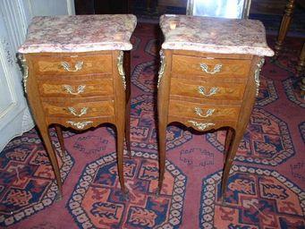 DS Antiquit? - paire de chevets en bois de rose, 3 tiroirs - Table De Chevet