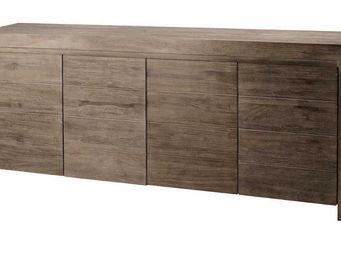 ZAGO - meuble bas 4 portes en teck teinte - Crédence
