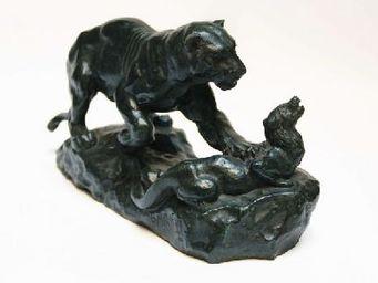 Benneton - panthère surprenant un zybeth - Sculpture Animalière
