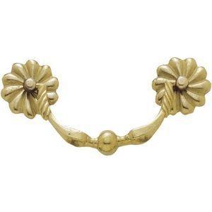FERRURES ET PATINES - poignee de meuble en bronze avec rosaces fleurs st - Poign�e De Meuble