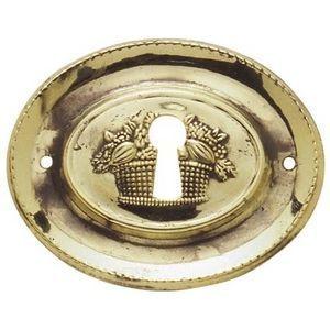 FERRURES ET PATINES - entree de meuble ovale en laiton repousse style lo - Entrée De Meuble