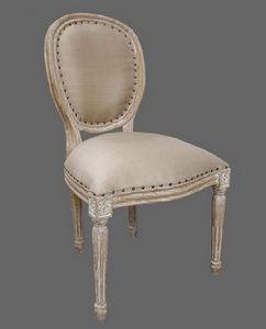 DECO PRIVE - chaise medaillon en bois ceruse deco prive - Chaise Médaillon
