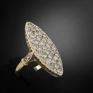 Expertissim - bague marquise en or jaune et diamants - Bague